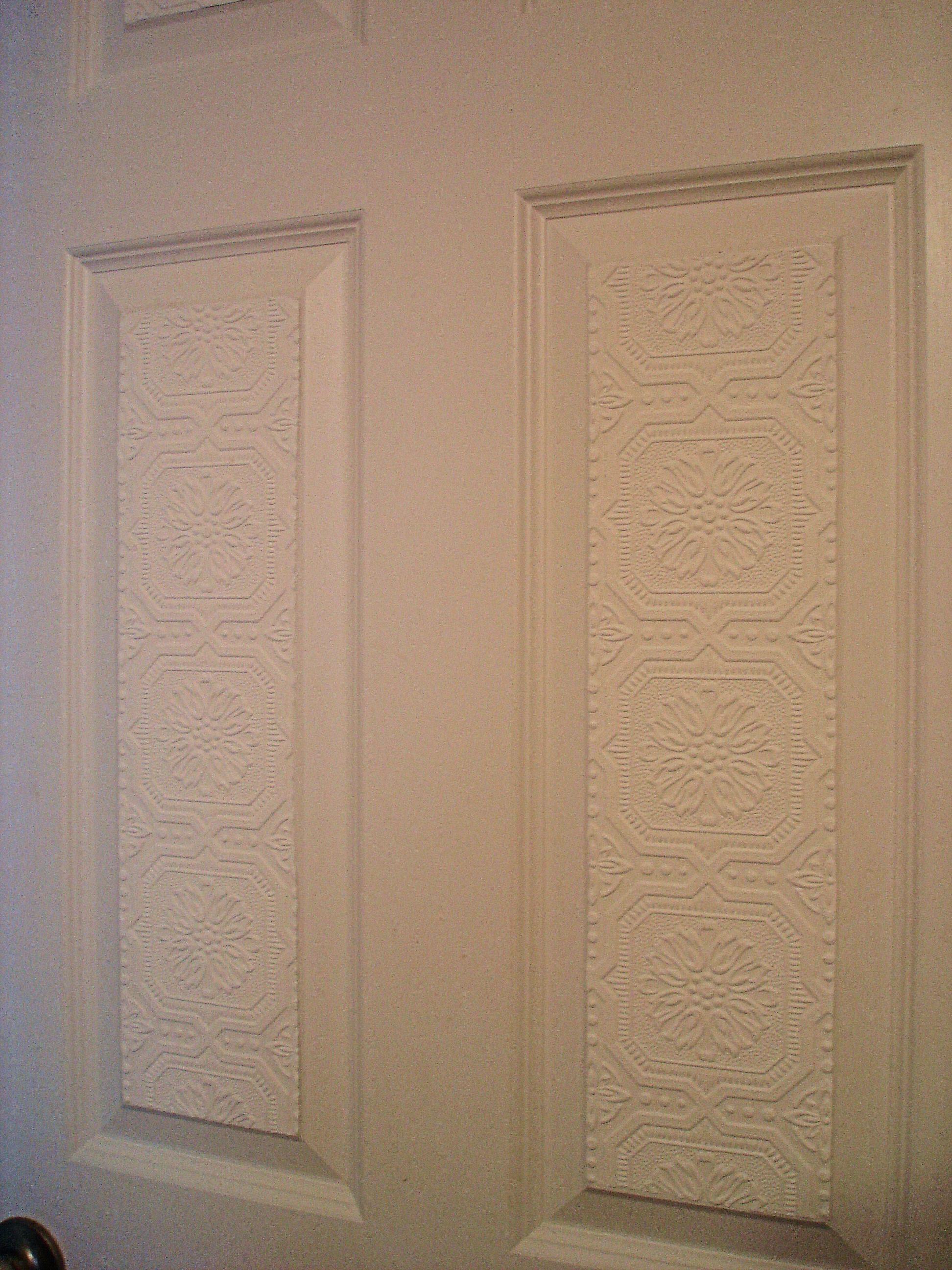 Textured Wallpaper On Door Panels First Floor Hallway Textured Wallpaper Wallpaper Door Wainscoting