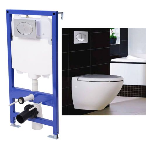 Cistern Concealed Frame Bathroom Wc Flush Wall Hung Toilet Chrome Push Button Toilet Wall Wall Hung Toilet Concealed Cistern