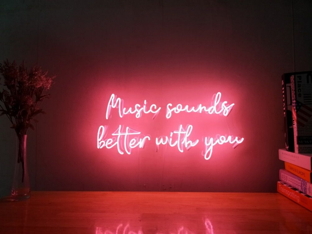 Music Sounds Better With You Real Glass Neon Sign For Bedroom Garage Bar Man Cave Room Home Decor Handmade Artwork Wall Lighting Includes Dimmer #garagemancaves