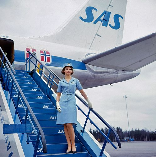 1965 Scandinavian Airlines System Scandinavian Airlines System Jet Age Flight Attendant Uniform