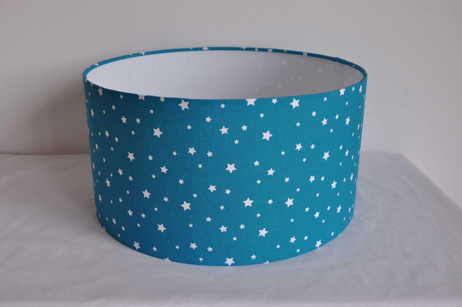 abat jour cylindrique 35 cm - supension - bleu canard -motifs
