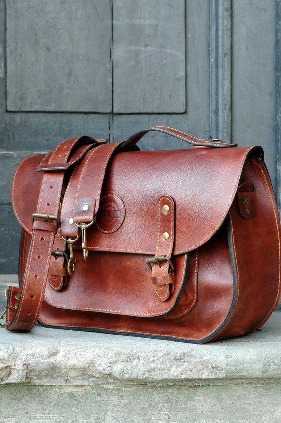 32acab442f leather messenger backpack office bag schoolbag Ladybuq Cognac ...