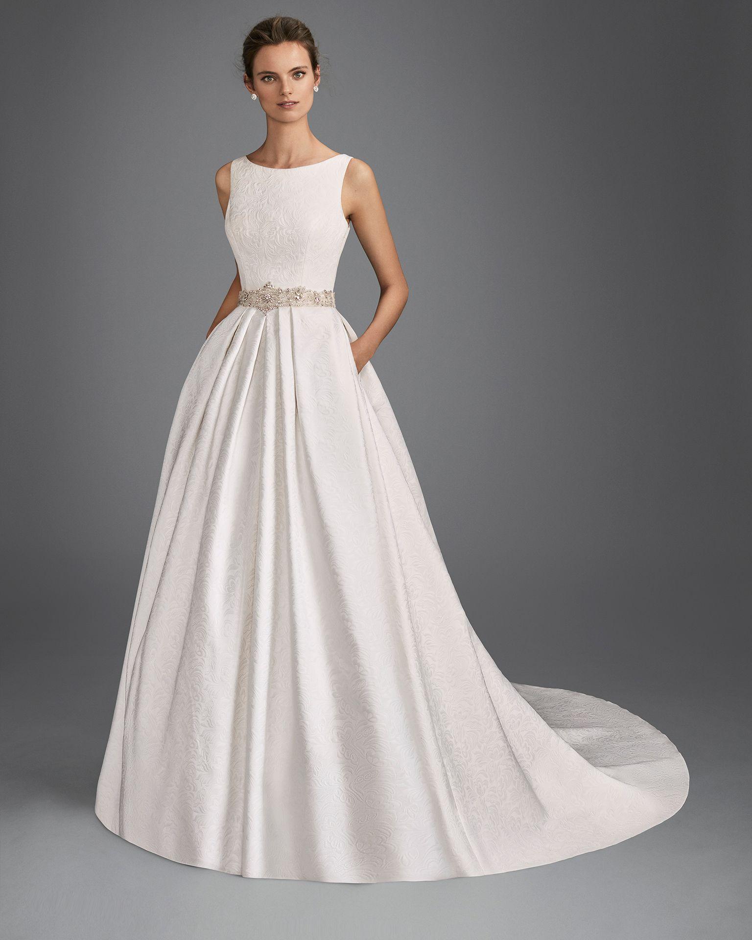 Classic-style beaded brocade wedding dress with bateau neckline ...