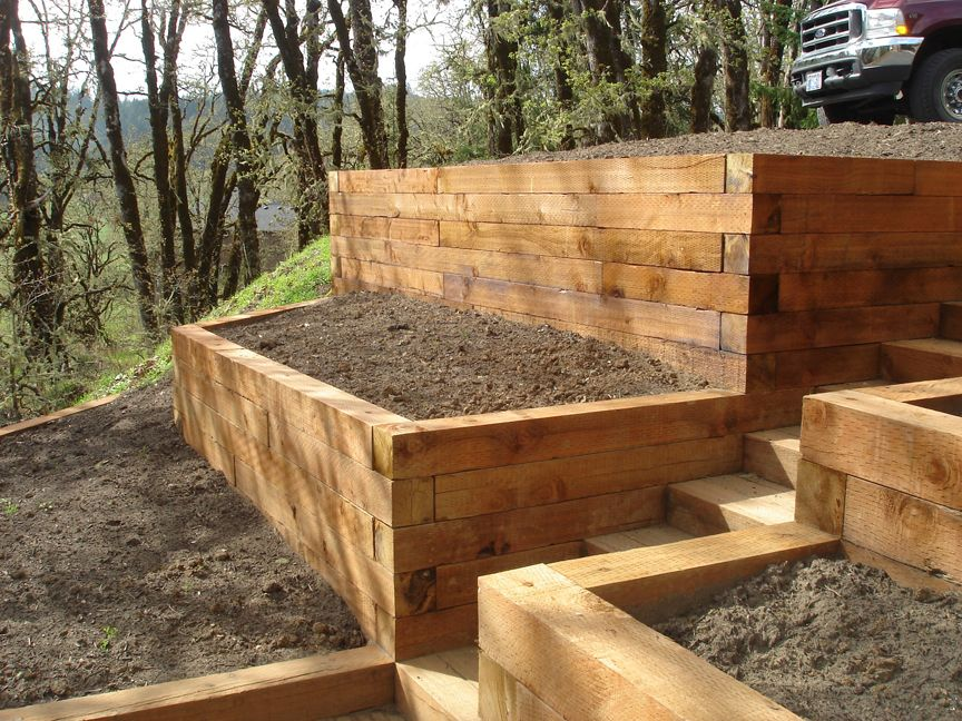 Sleeper retaining walls using pallets google search for Google jardin