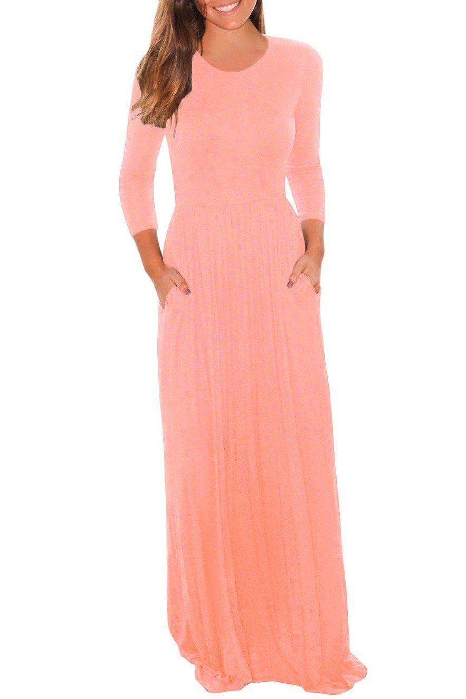 Casual pocket design sleeves pink maxi dress pink maxi maxi