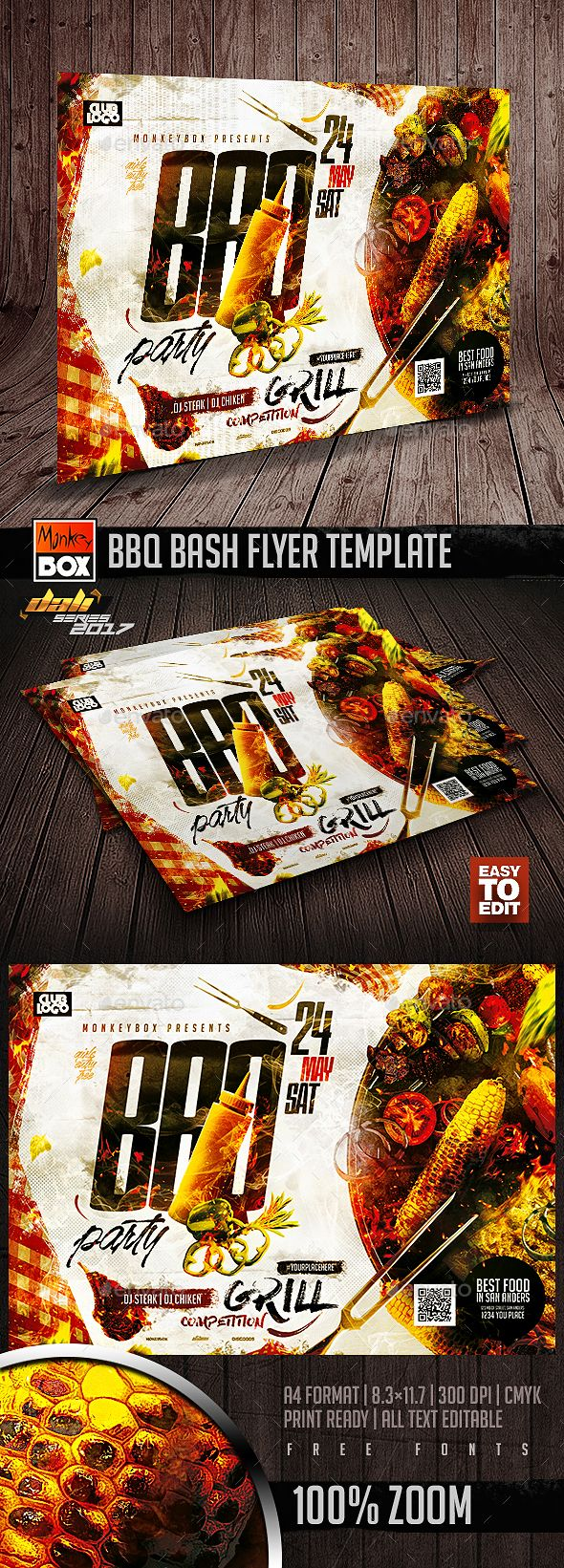 bbq bash flyer template print templates flyers events tags bar barbecue bbq beach party club cookout food foods fourth of july