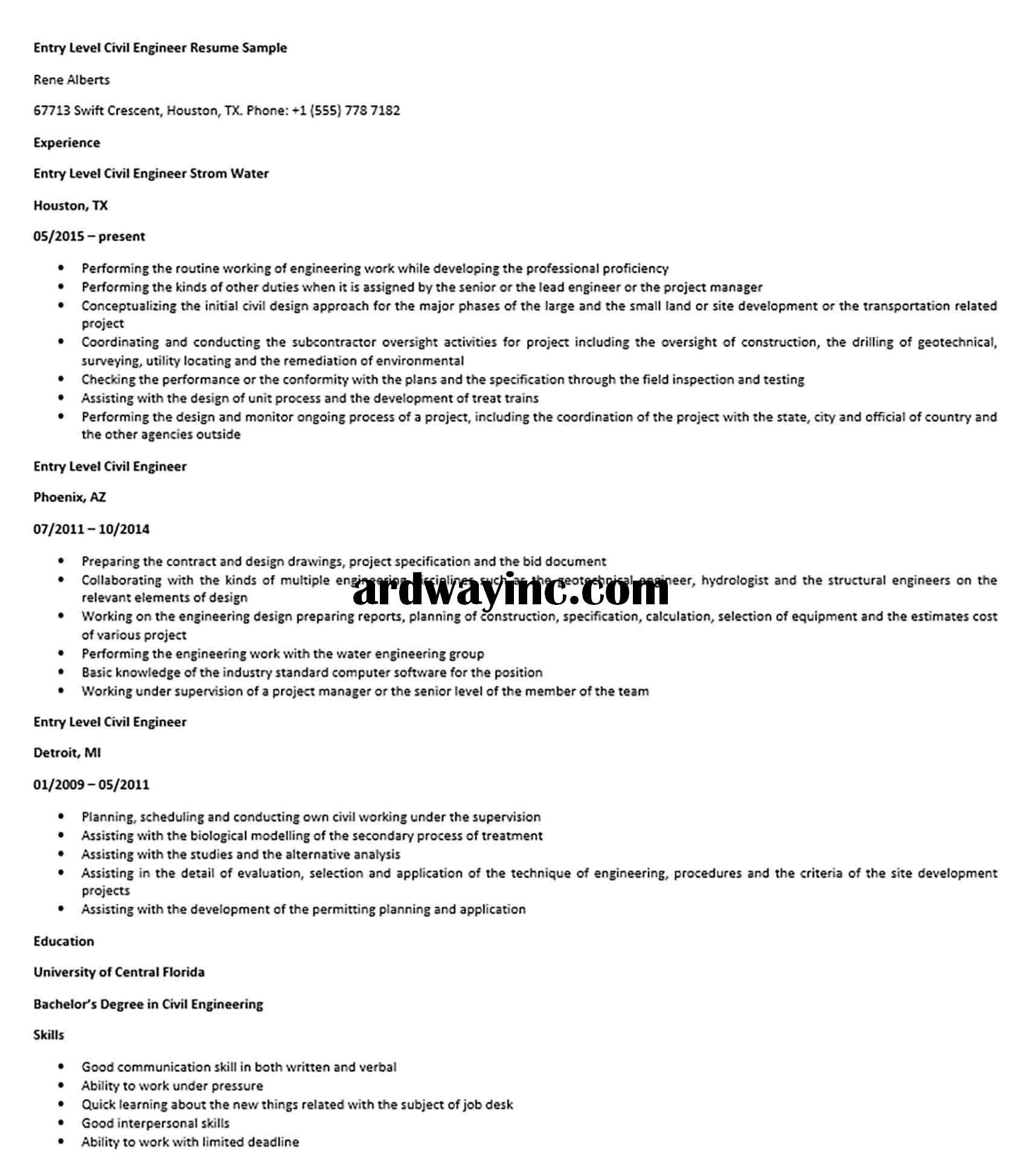 Entry Level Civil Engineer Resume Sample Civil Engineer Resume Civil Engineering Entry Level
