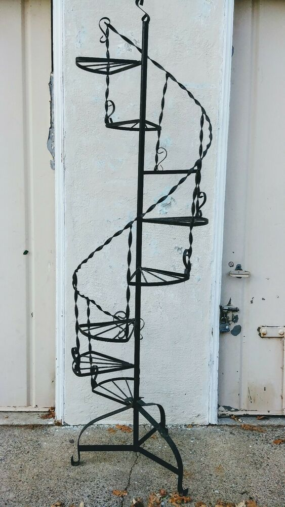 Best Tall Mid Century Wrought Iron Black Metal Spiral Staircase 400 x 300