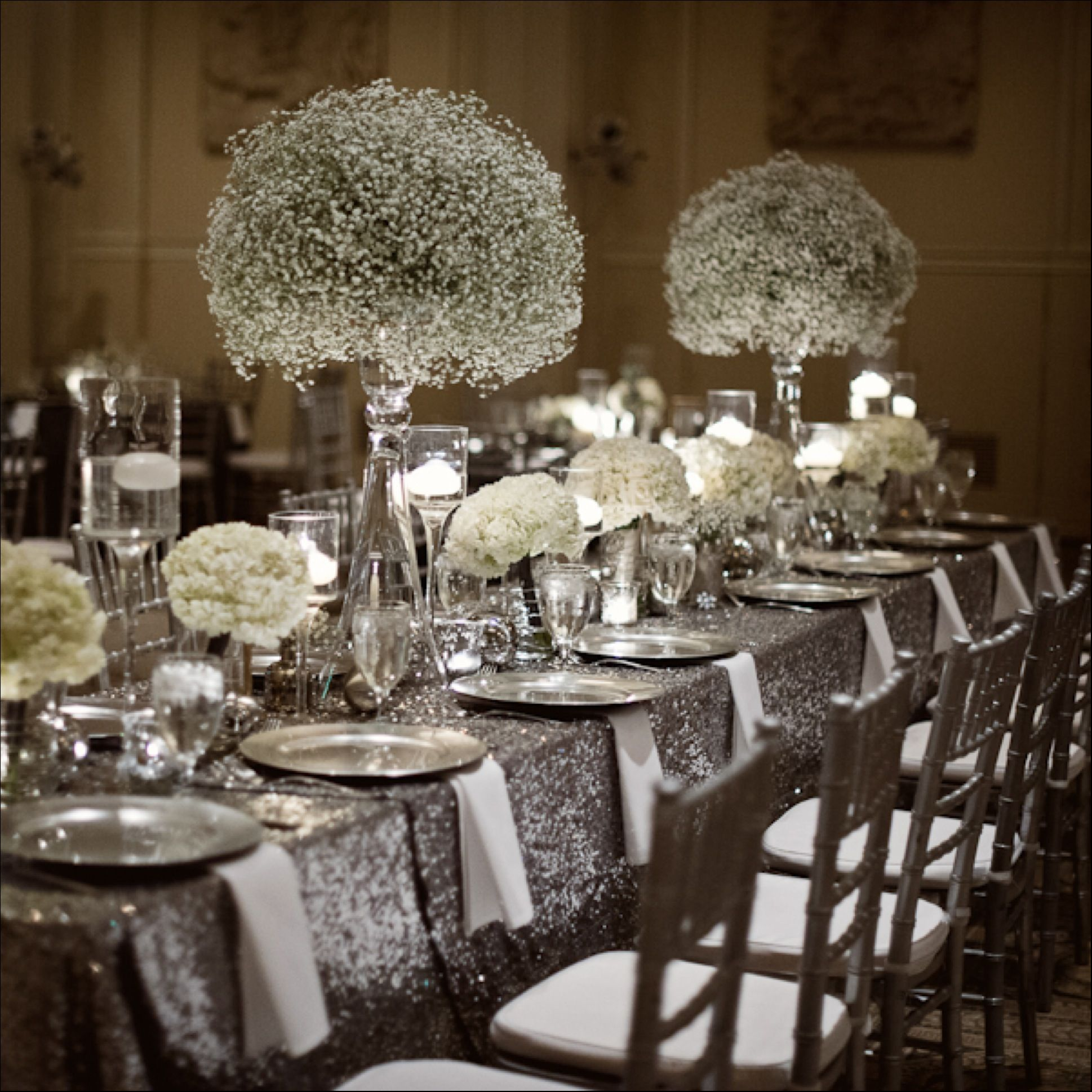 Silver Wedding Decorations For Tables Silver Wedding Decorations Sparkle Wedding Wedding Chairs