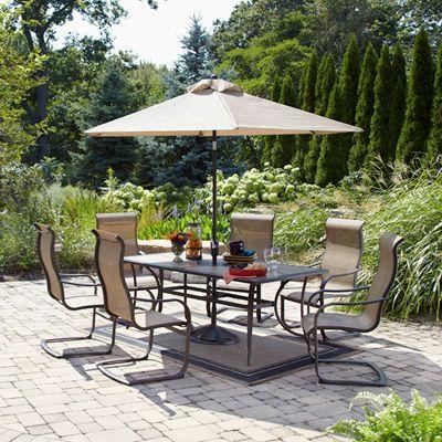 Agio Willowbrook Patio Furniture.Agio Willowbrook 7 Piece Sling Patio Dining Set 800 Patio