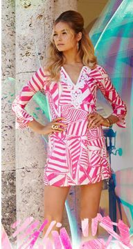 64f717434c4771 Lilly Pulitzer Julianna Embroidered Tunic Dress shown in Capri Pink Yacht  Sea.