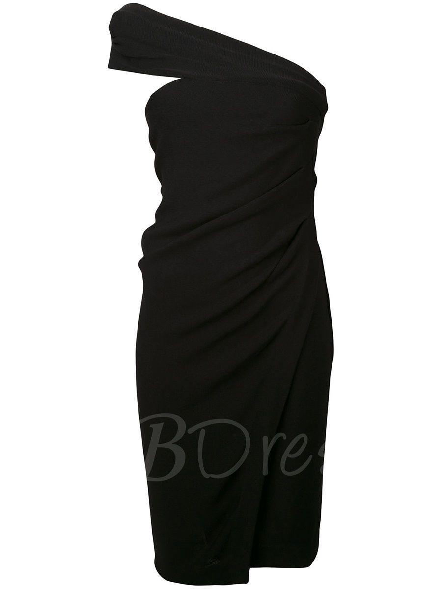 Asymmetric Pleated Hollow Backless Women\'s Bodycon Dress | Bodycon dress