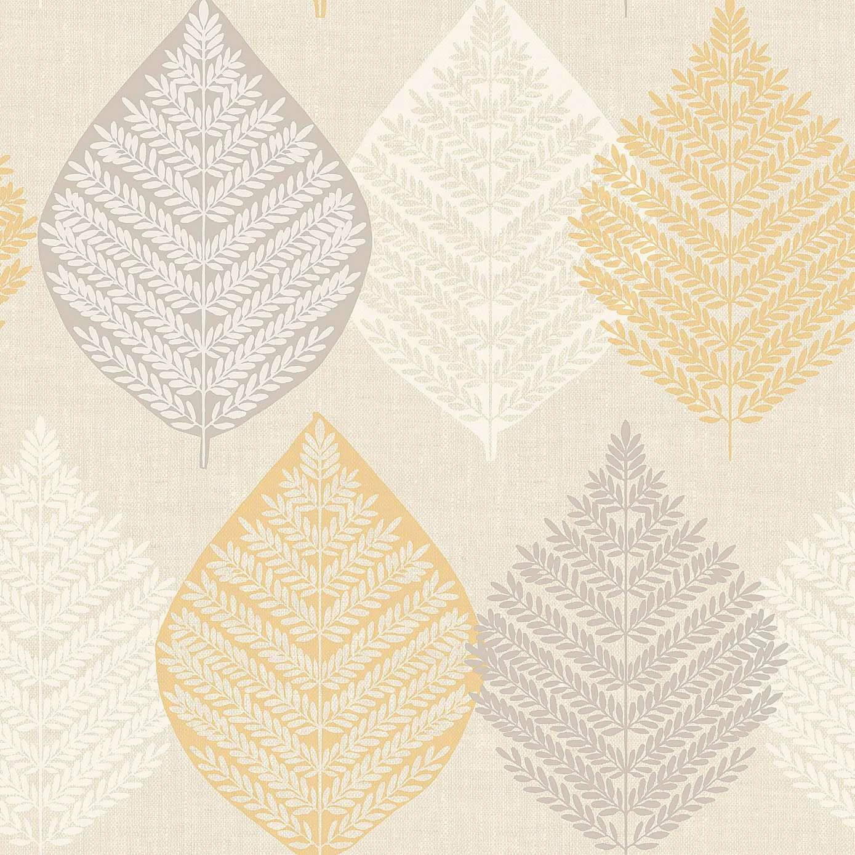 Ochre Leaf Motif Wallpaper