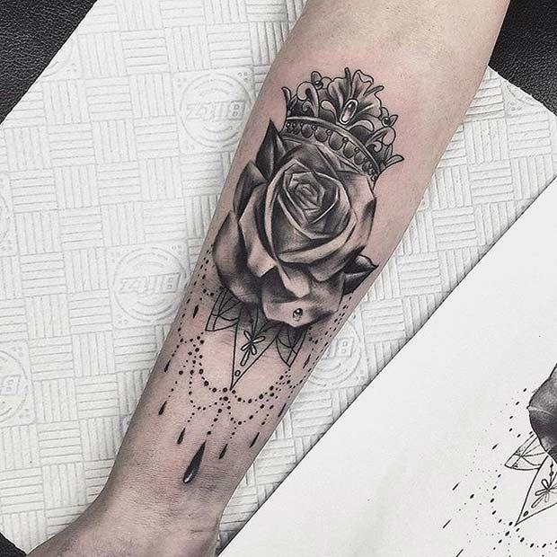 Crown And Rose Mandala Design For Crown Tattoo Idea For Women Crown Tattoos For Women Crown Tattoo Design Crown Tattoo