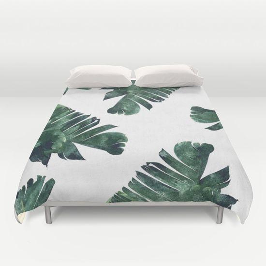 Banana Leaf Watercolor Pattern #society6 Duvet Cover