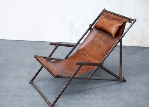 Aged Leather Deck Chair Ideal For Those Spring Summer Evenings Outside Handmade Chair Deck Chairs Chair