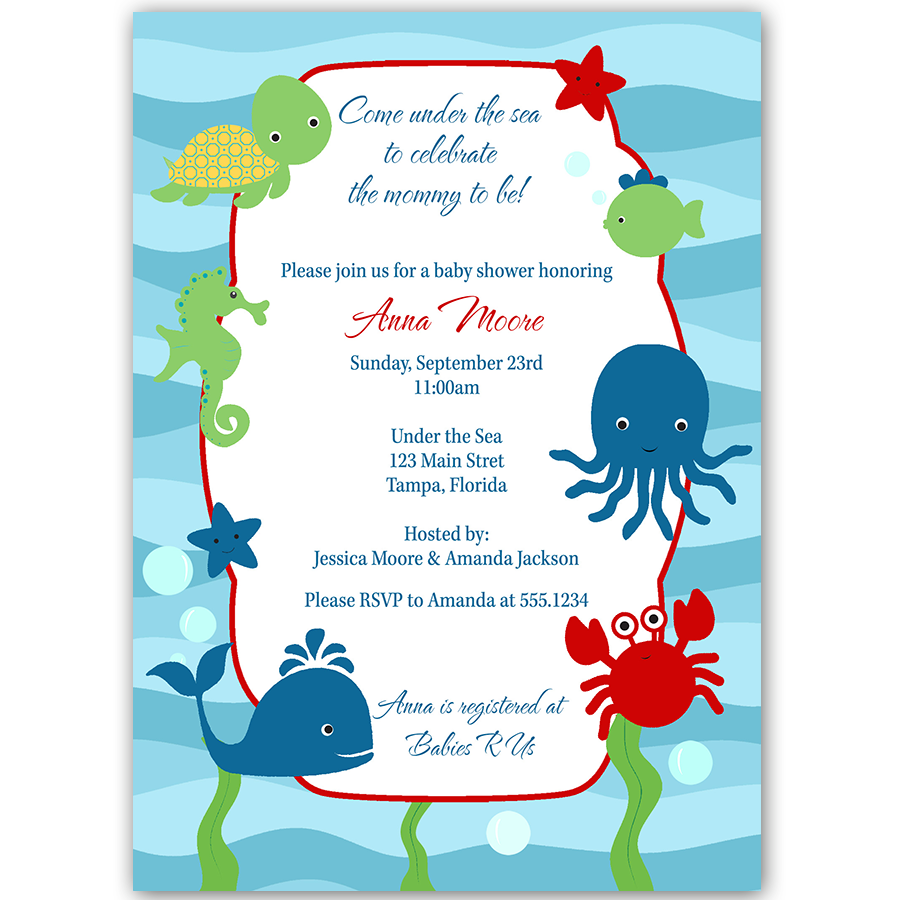 Under the Sea, Baby Shower Invitation | Babies, Baby shower nautical ...