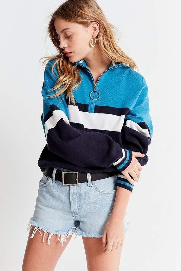 Urban Outfitters Uo Oversized Striped Half Zip Sweater Fashion
