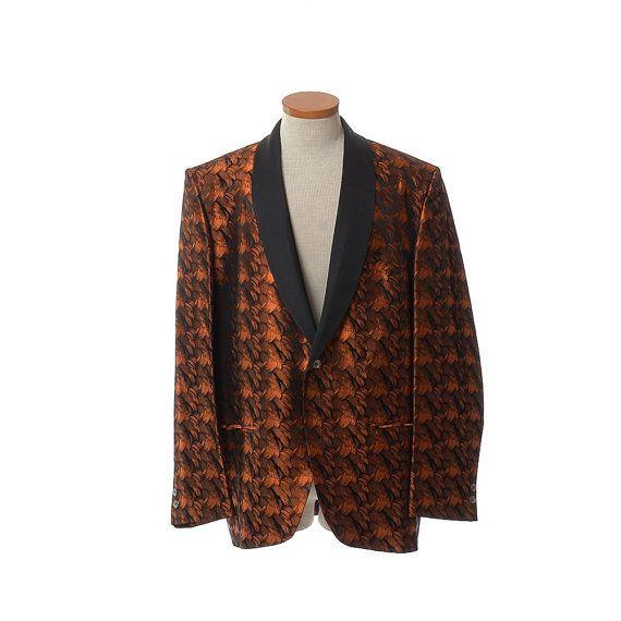 Vintage 60s Mens Copper Tuxedo Jacket 1960s by CkshopperVintage