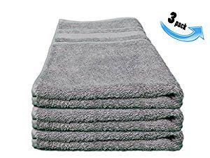 Amazon.com: All Design's Turkish Dobby Terry Border Hand Towels - %100 Cotton - 16 inch by 30 inch, 3 Pieces Grey Color: Home & Kitchen
