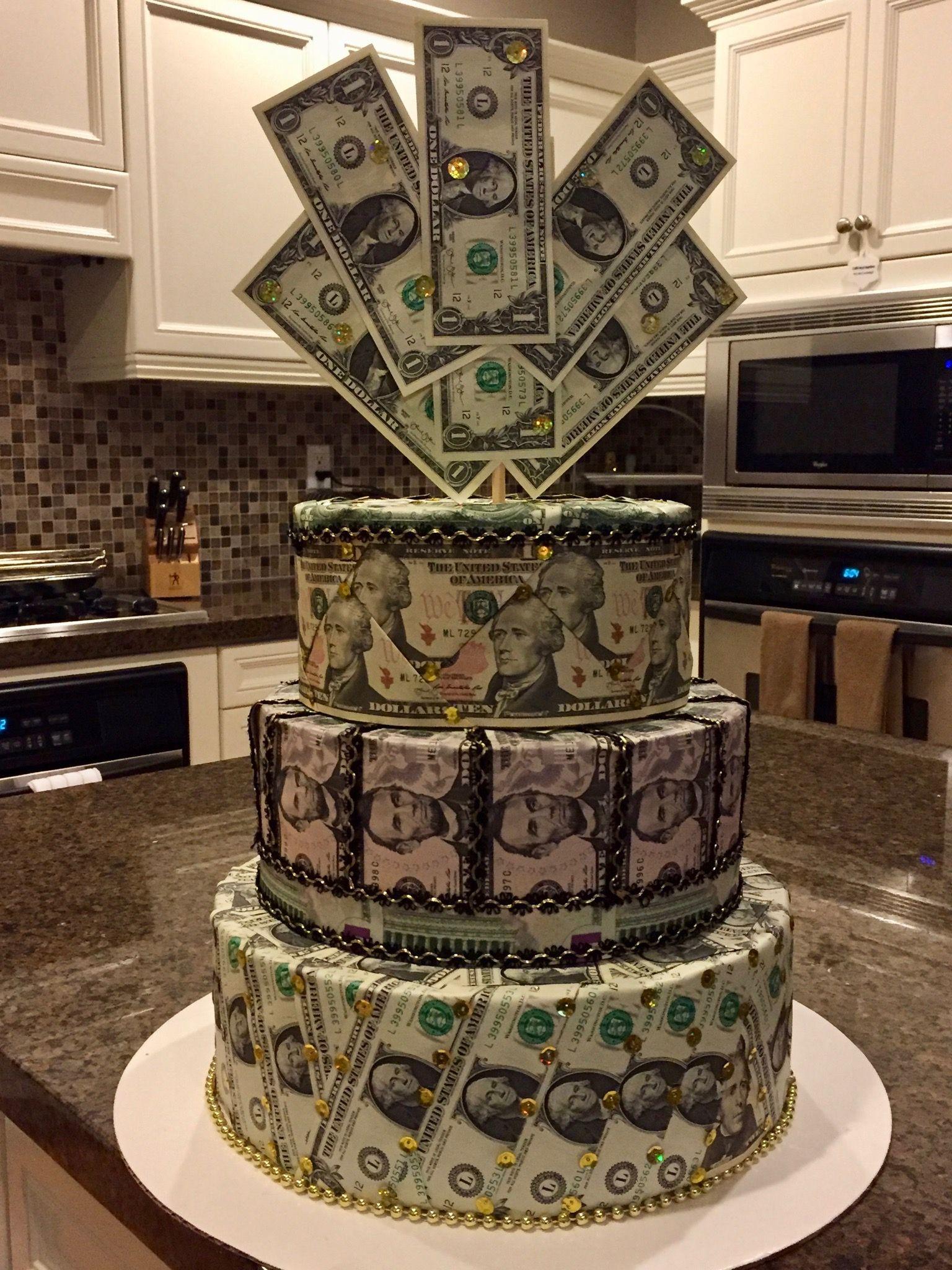 Stupendous Making A Money Birthday Cake Easy Craft Ideas Personalised Birthday Cards Veneteletsinfo