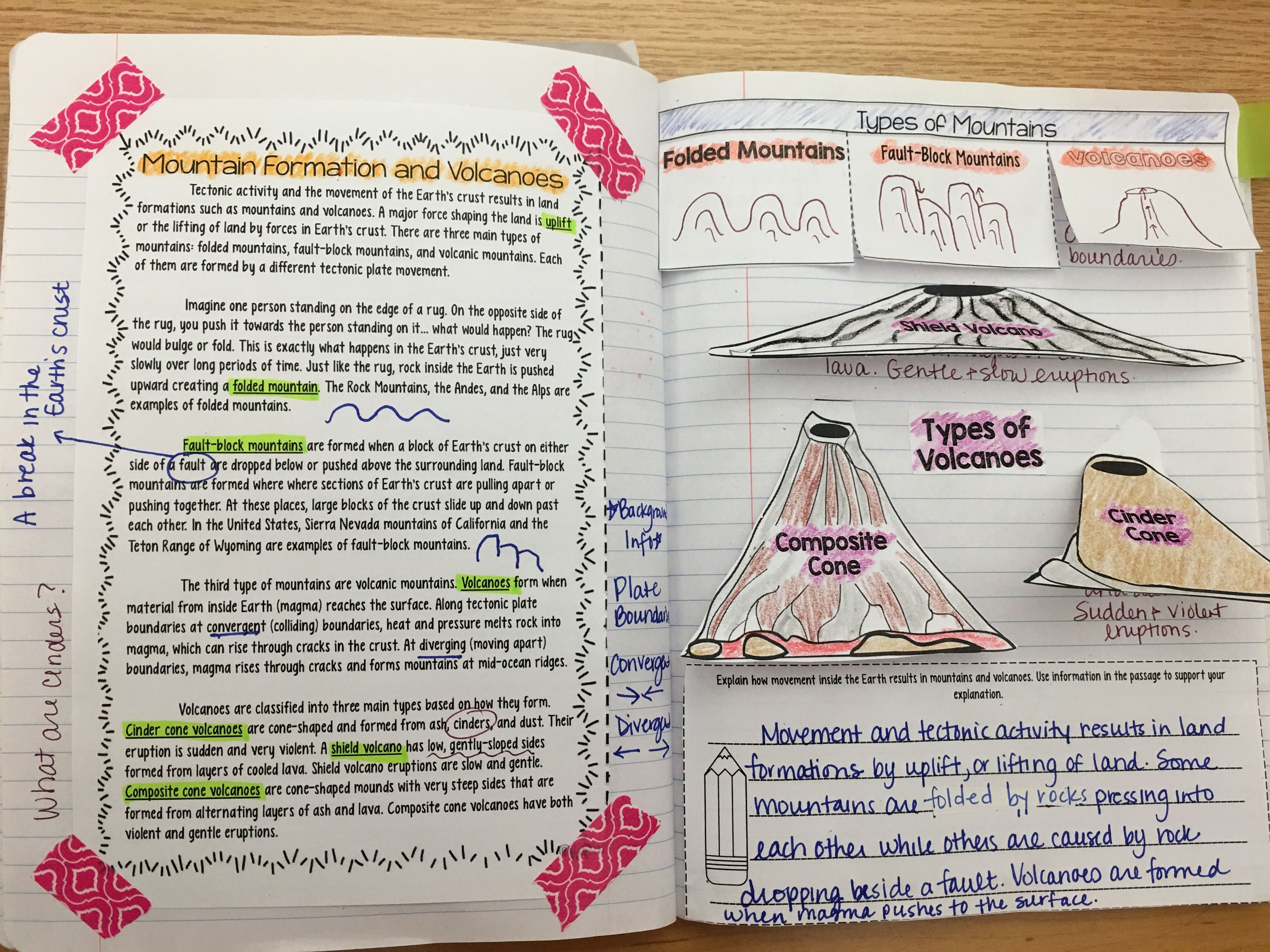 Volcanoes And Mountain Formation Reading Comprehension