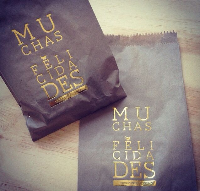 Xmas paper bags with golden foil