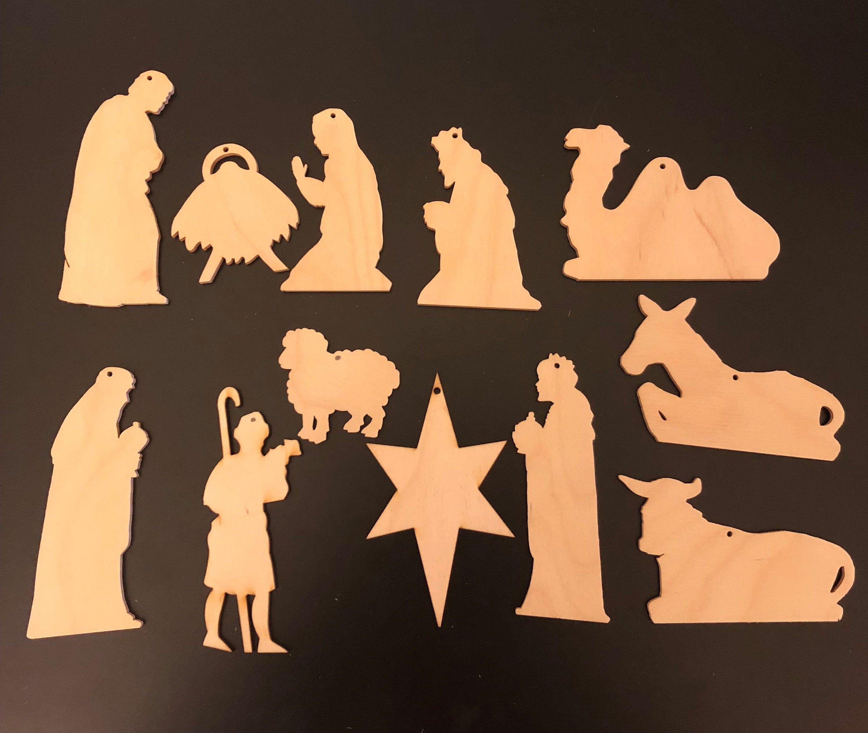 Photo of Set 12 pezzi Krippe Szene Weihnachten Ornamente MIT HOLES natürliche Handwerk Holz 913