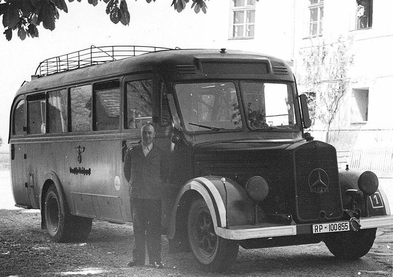 Hartheim Nazi killing center, bus with driver.