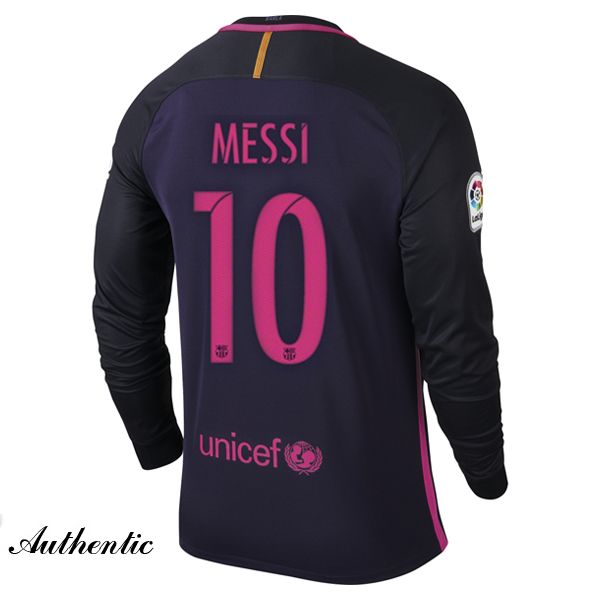 d550c8c33d3 Lionel Messi Authentic Away LS Soccer Jersey 16 17 Barcelona  10 ...