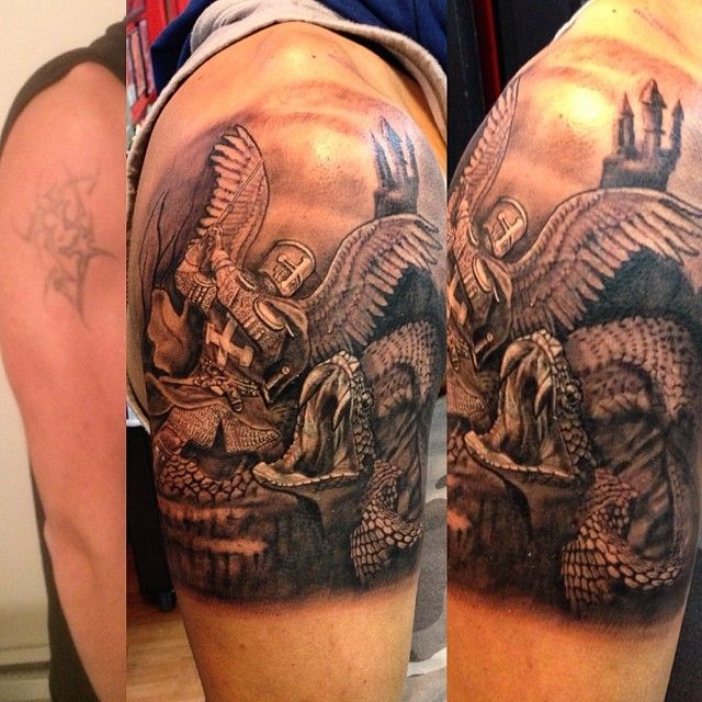 Good Vs Evil Tattoos Half Sleeve Black And Grey Good Vs