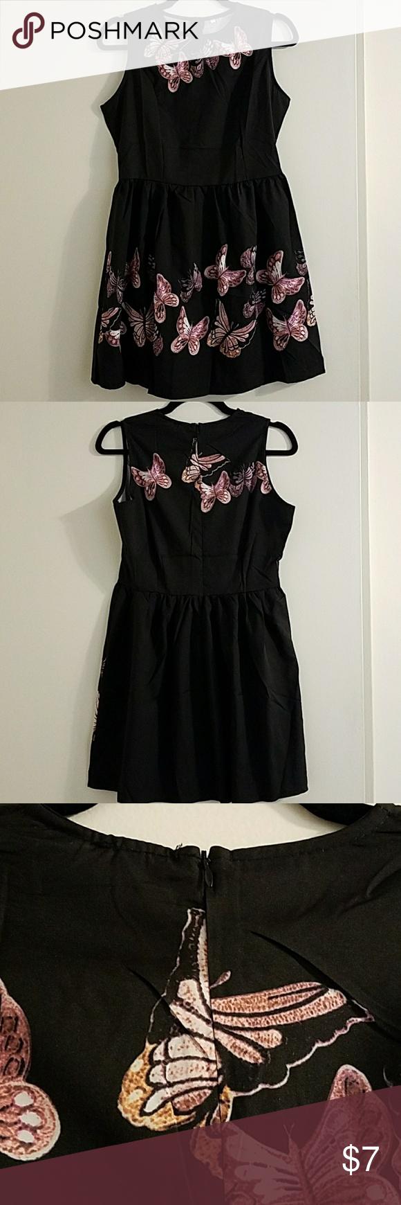 Black Butterfly Dress Shirt Cute Black Dress Butterfly Dress Clothes Design [ 1740 x 580 Pixel ]