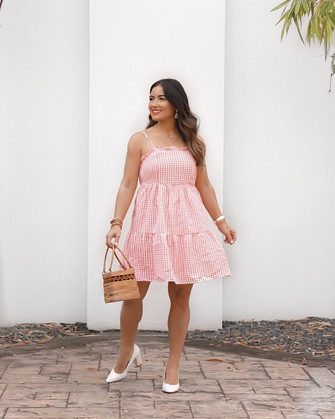 Style Blogger Kristaperez Summer Dresses Summer Dress Outfits Pink Gingham Dress [ 1350 x 1080 Pixel ]