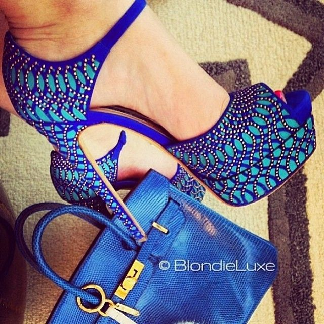 high heel blue shoes
