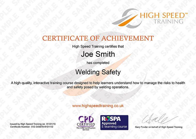 certification welding result