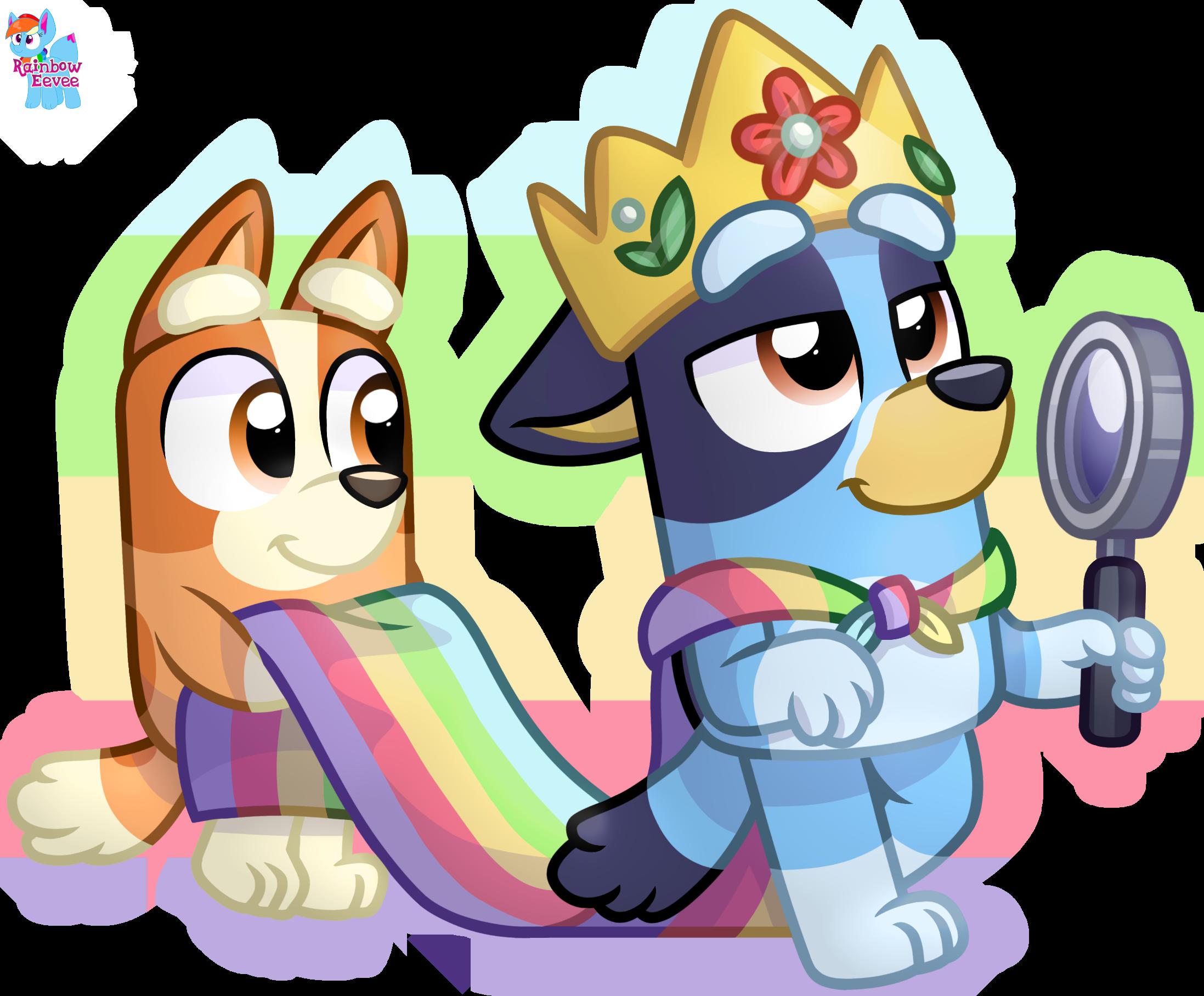 Queen Bluey And Bingo Sticker By Rainboweeveede On Newgrounds Character Design Kids Shows Cartoon