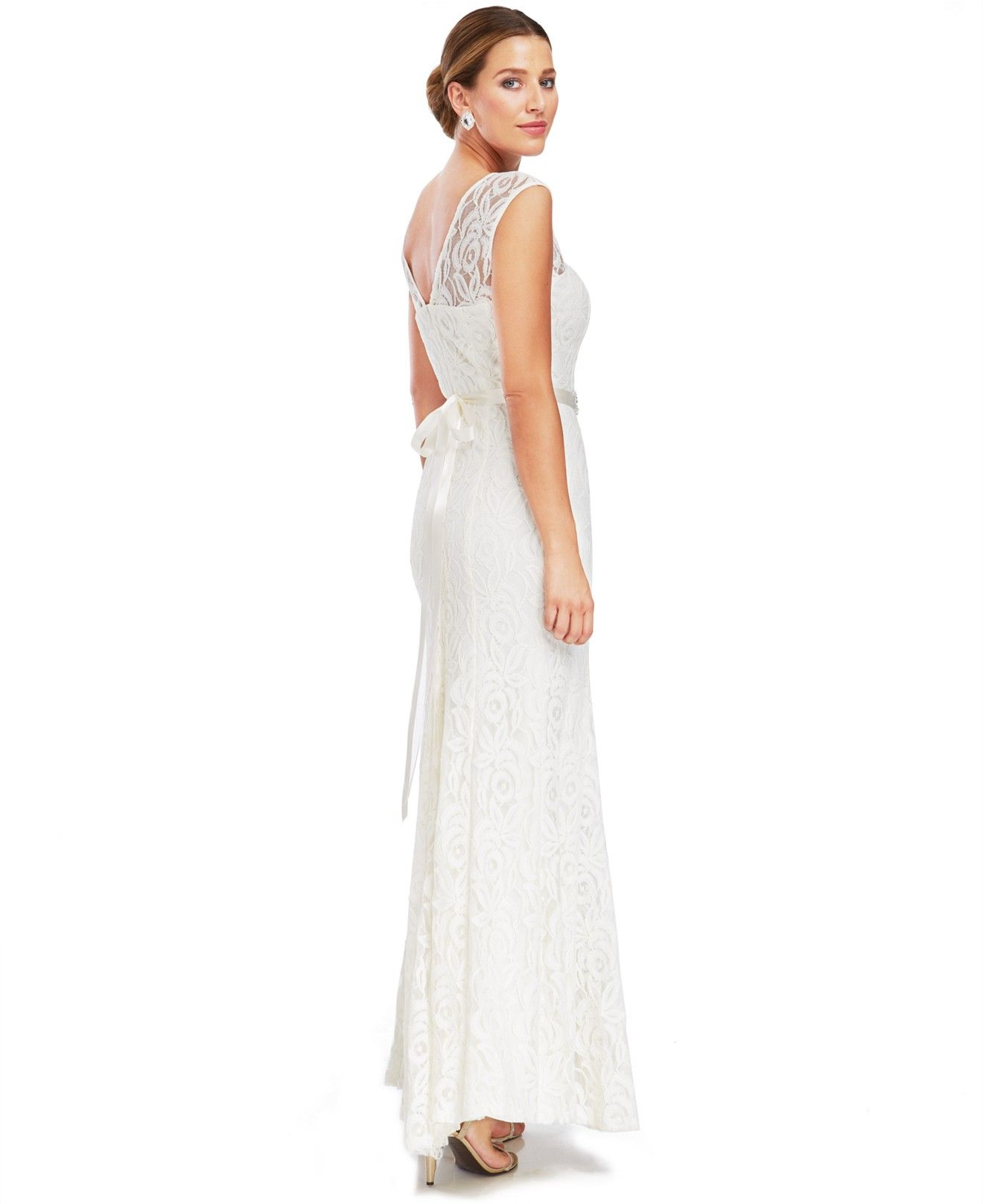 Betsy & Adam Illusion Lace Belted Gown - Dresses - Women - Macy\'s ...