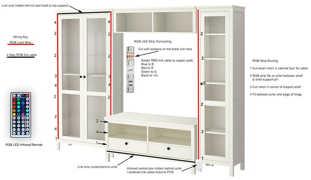 Adding Remote Controlled Rgb Led Backlighting To Hemnes Glass Cabinets Ikea Hackers Glass Cabinet Hemnes Rgb Led