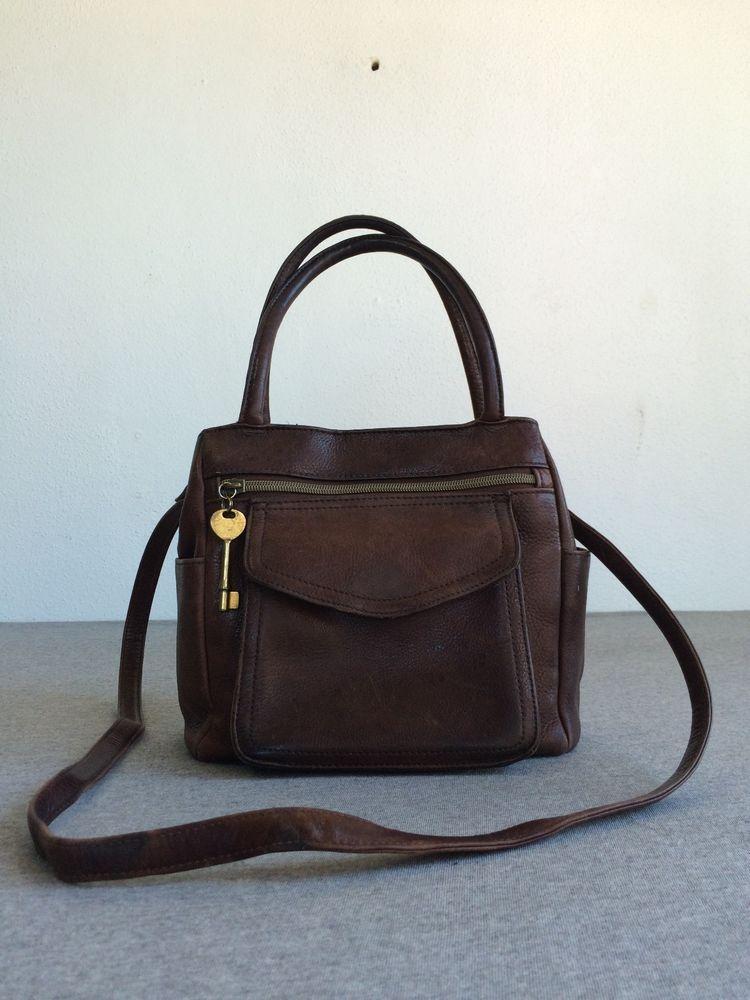 Fossil Brown Genuine Leather Purse 75082 1954 Shoulder Handbag Pebbled Key Euc Shoulderbag