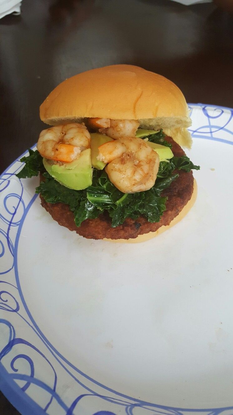 "Grilled Veggie Burger with sautéed Kale, Avocado, & Shrimps, on a potato roll bun..... by ""E"" 😊#HealthyEating #BBQ #IBeGrilling"