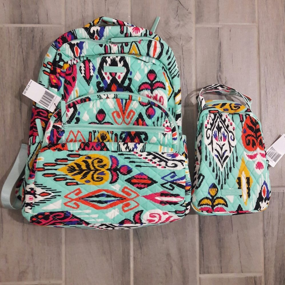 ed50bf31b577 NWT Vera Bradley Essential LARGE Backpack with Lunch Bunch Pueblo Campus   172