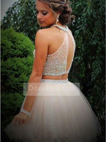 D-daydress Two Piece Tulle Champagne Halter Beaded Homecoming Dress