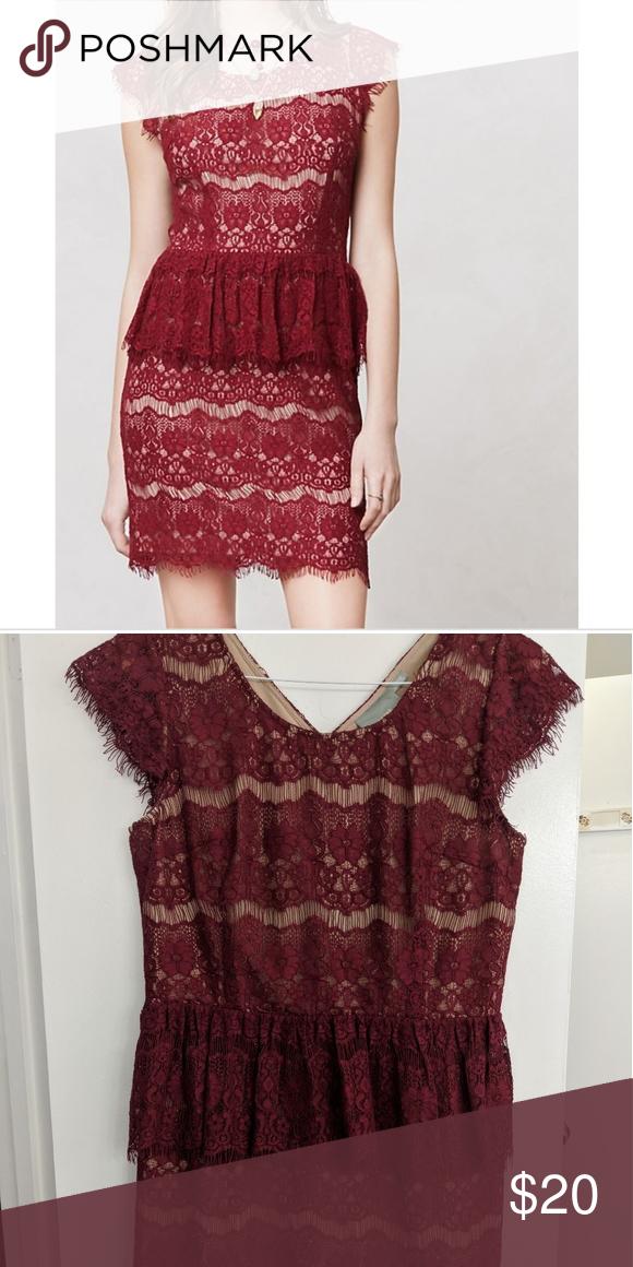 051ef012 Anthropologie Maeve burgundy lace peplum dress Worn once Maeve Dresses Mini