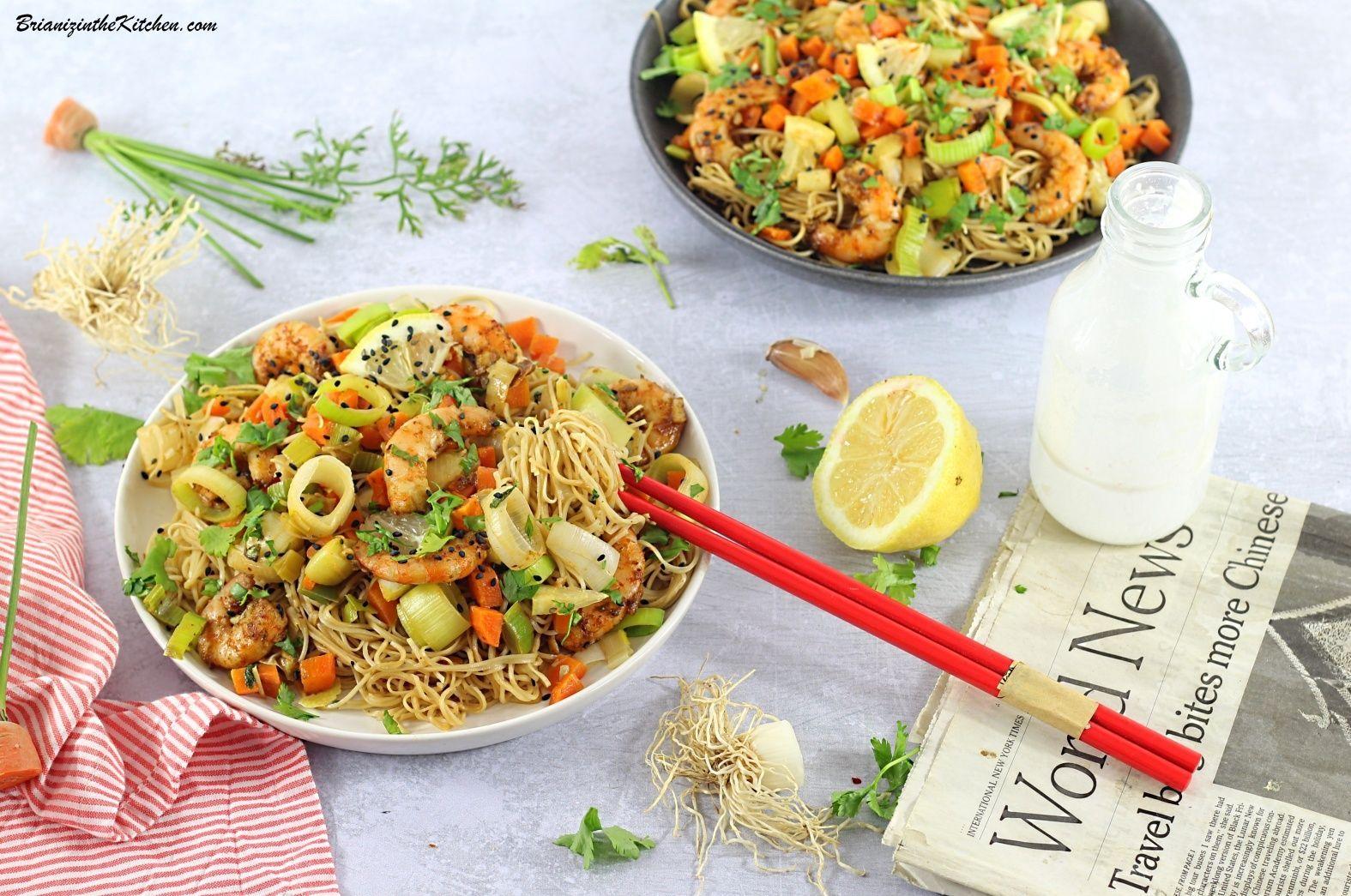 Nouilles Sautées aux Crevettes et Légumes d'Automne #saladeautomne Nouilles Sautées aux Crevettes et Légumes d'Automne - Brian Iz In The Kitchen #saladeautomne