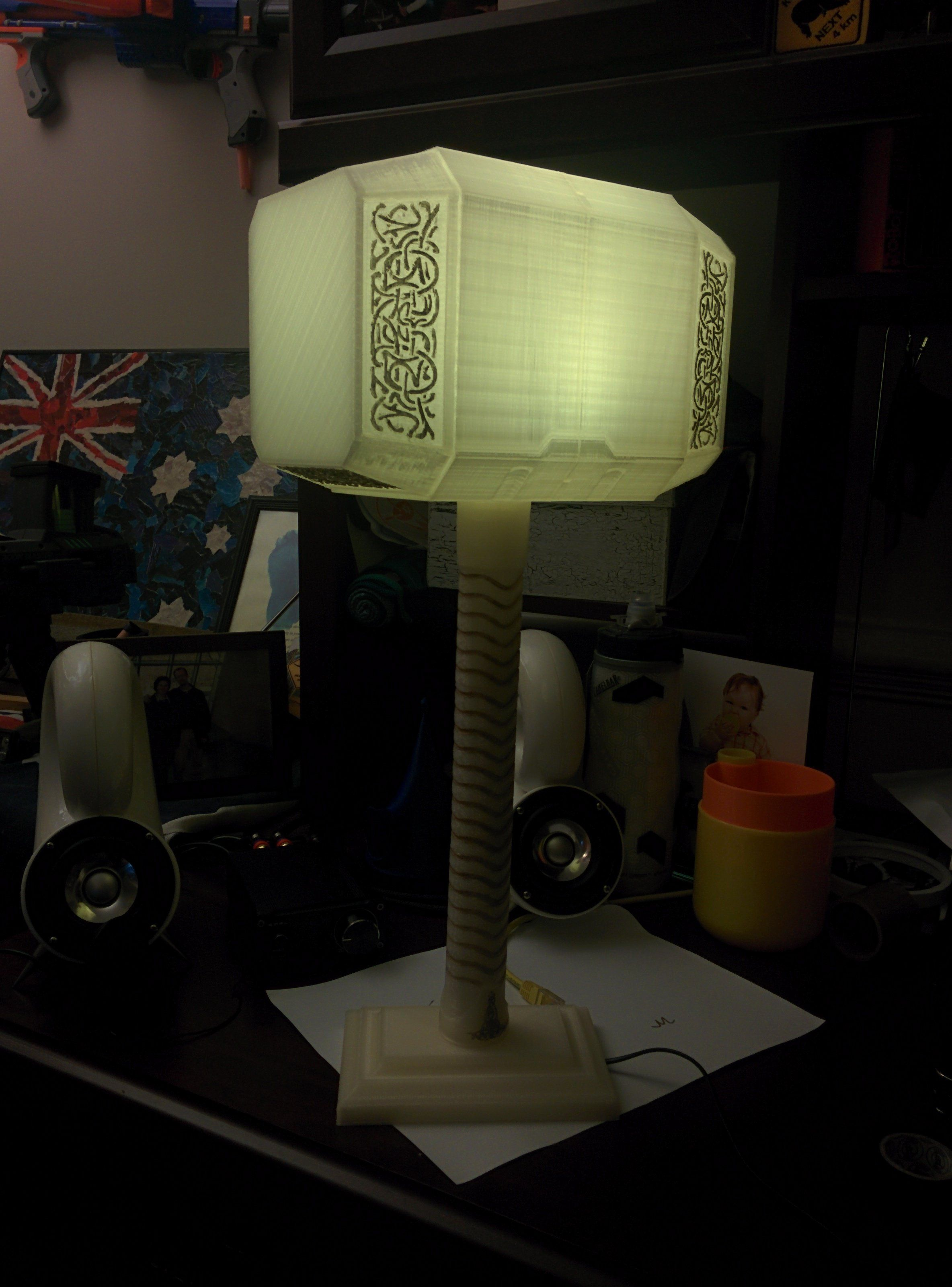 Illuminate Your Desk With Thor S 3d Printed Hammer Marvel Decor Geek Room