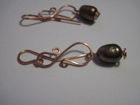 copper wire and bronze freshwater pearl dangle by sumerthyme2