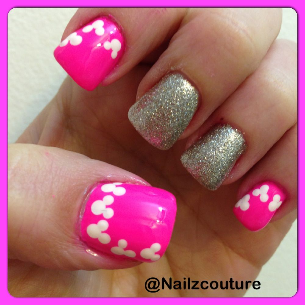 Mickey mouse/neon nails | My nail art all hand painted | Pinterest
