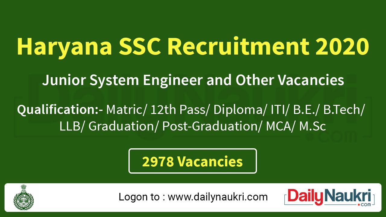 Hssc Recruitment 2020 In 2020 Recruitment Government Jobs Graduation Post