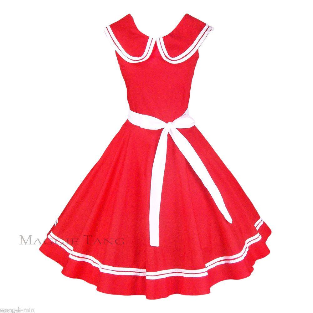 S s vintage dancing swing jive rockabilly swing dress red