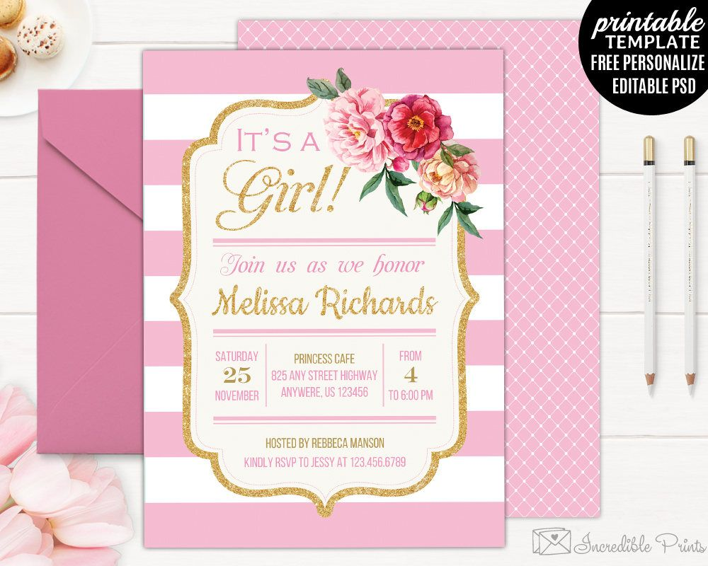 Girl baby shower invitation template printable gold baby shower gold and pink baby shower invitation template printable floral baby shower invitation spring flowers filmwisefo Image collections